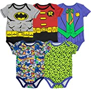 Warner Bros. Baby Boys' 5 Pack Bodysuits - Batman, Robin, Joker and Riddler (3-6 Months)