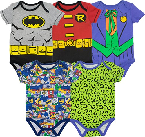 Warner Bros. Baby Boys' 5 Pack Onesies - Batman, Robin, Joker and Riddler (0-3 Months) -
