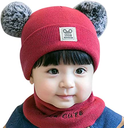Toddler Kids Girl/&Boy Fur Pom Hat Winter Crochet Knit Hat Beanie Cap Scarf Set