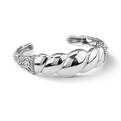 c5ab5414789 Amazon.com: Carolyn Pollack Sterling Silver Twist Rope Cuff Bracelet ...