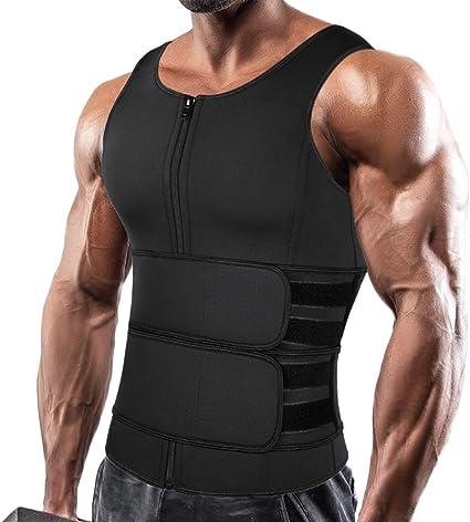 Men/'s Waist Trainer Vest Sauna Sweat Body Shaper Tank Top Slimming Trimmer Shirt
