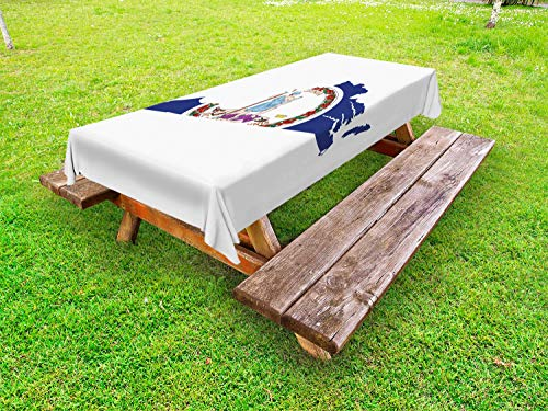 (Lunarable Virginia Outdoor Tablecloth, Old Dominion State Map and Waving Flag Thus Always to Tyrants Motto, Decorative Washable Picnic Table Cloth, 58 X 104 Inches, Cobalt Blue Multicolor)