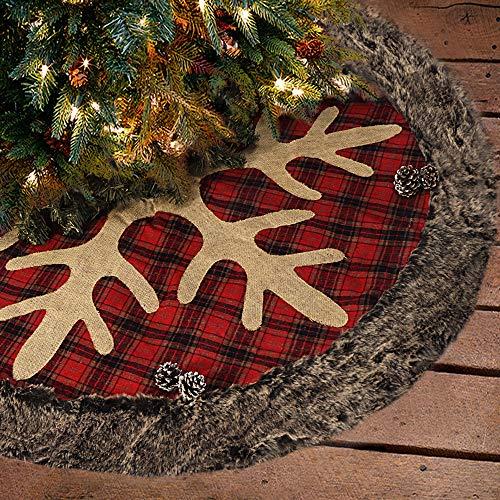Ivenf Christmas Tree Skirt, 48 inches Large Burlap Plaid Snowflake with Thick Faux Fur Edge Skirt, Rustic Xmas Tree Holiday Decorations (Rustic Plaid Christmas Decor)