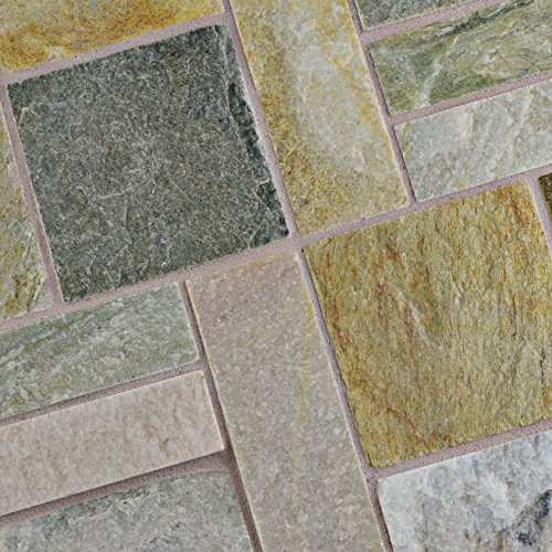 SomerTile SCRPTQA Cliff Patchwork Arizona Quartzite Natural Stone Mosaic Floor and Wall Tile, 12'' x 12'', Grey/Brown/Beige/Orange by SOMERTILE (Image #5)