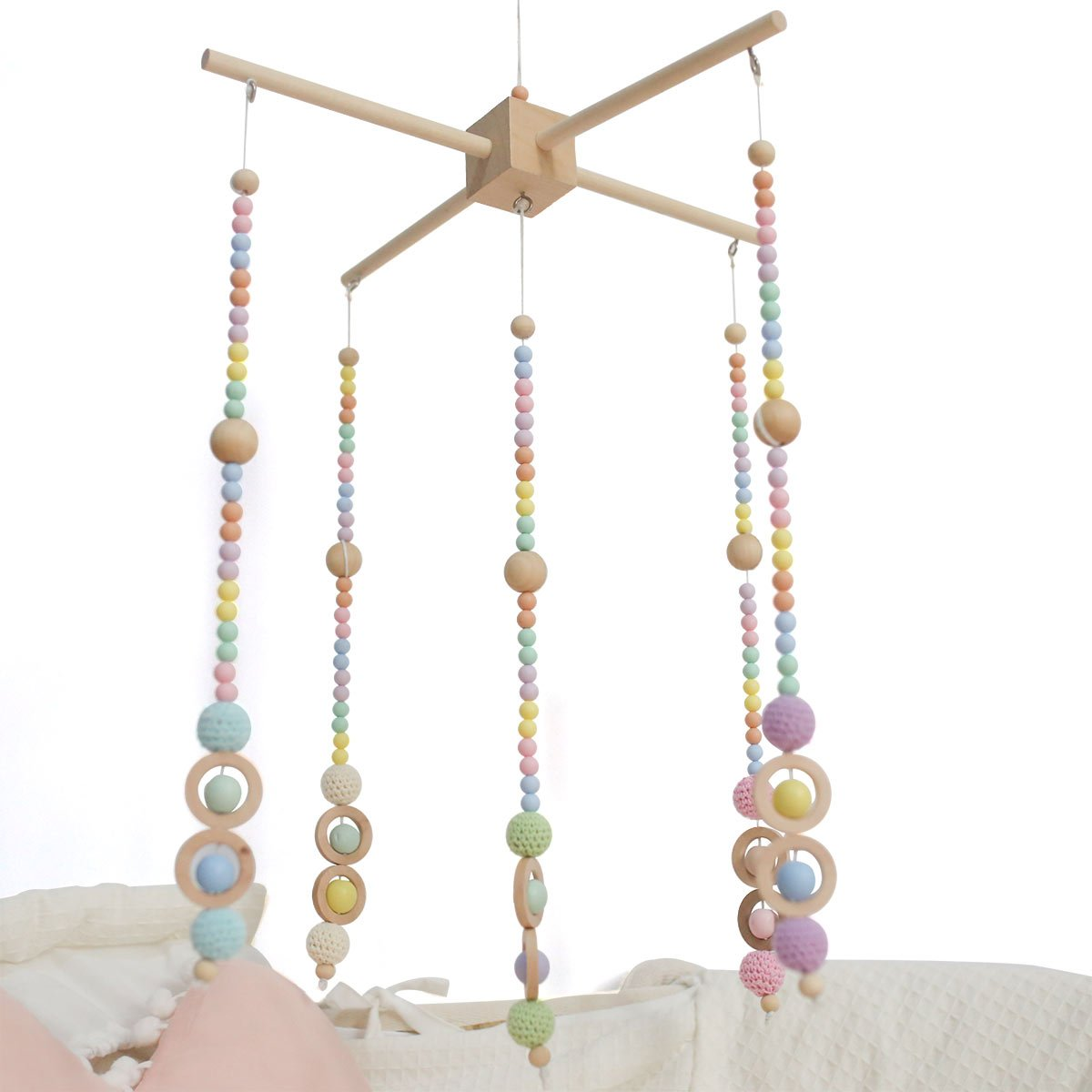 Baby Crib Mobile Bed Bell Silicone Beads Baby Rattles Toys Handmade Nursery Infant Mobile Wooden Wind Chimes Tent Hanging Baby Room Decor Ceiling Decor Playroom HAO JIE