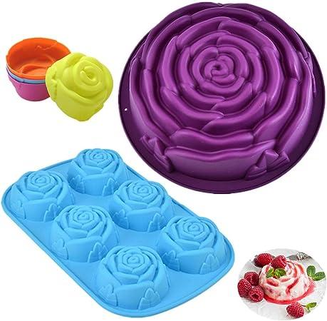 24,5 cm Moule /à g/âteau danniversaire anniversaire KeepingcooX Moule /à g/âteau grande fleur rose lavable au lave-vaisselle silicone antiadh/ésif