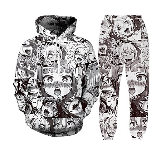 b1da2fbcab73 Unisex Funny Anime Ahegao 3D Print Hoodies Joggers Hipster Sexy Cartoon T-shirt  Sweatshirts at Amazon Men s Clothing store