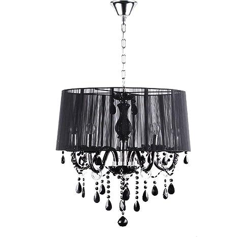 Tela negra Lámpara de araña Tela LED Sombra Cristal Metal de ...