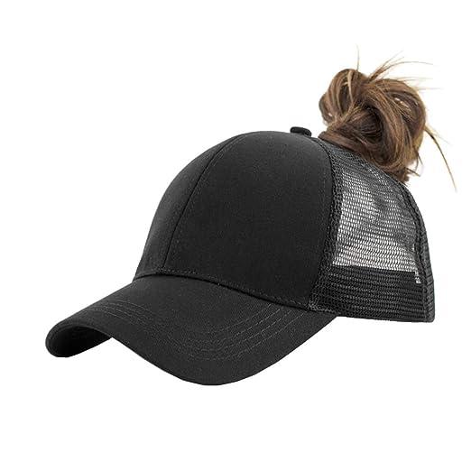 7264ff6e IZUS Solid Ponytail Hat Baseball Cap Cotton Mesh High Bun Pony Cap Women 2  Pack (