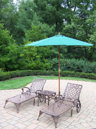 Oakland Living Mississippi Cast Aluminum 2 Chaise Lounges with 18-Inch Side Table Plus 9-Feet Green Umbrella and Stand