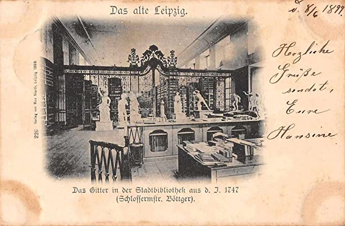 Leipzig Germany Library Interior View Antique Postcard J60775 At Amazon S Entertainment Collectibles Store