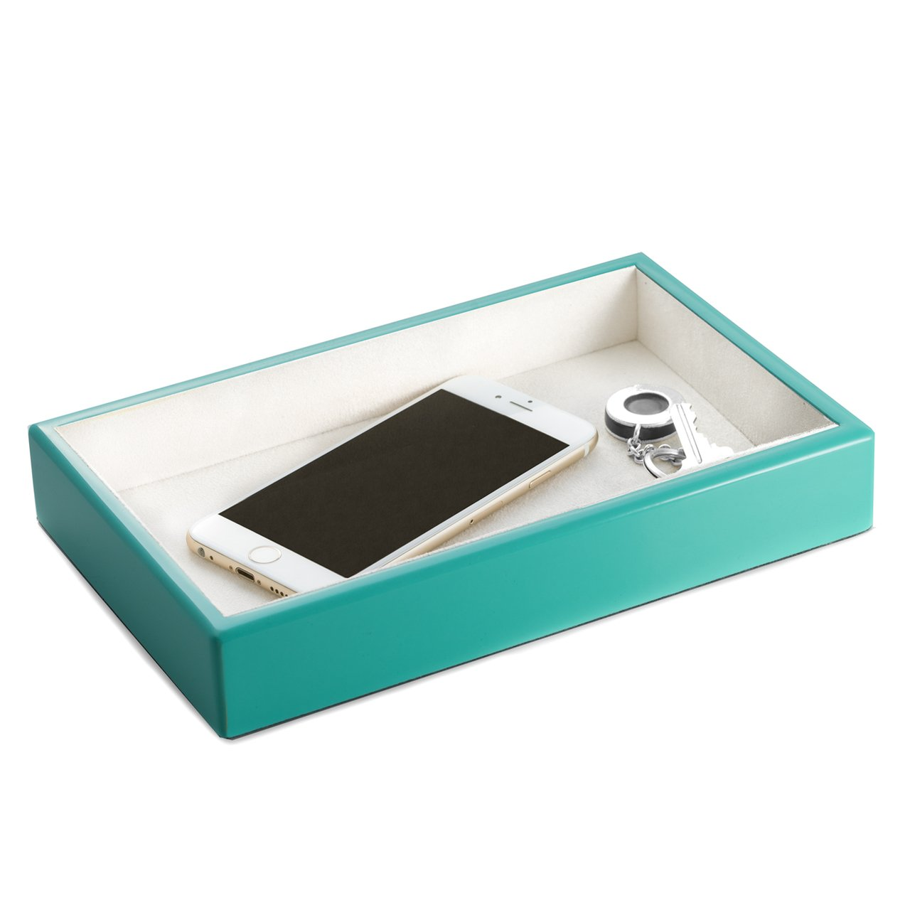 Bey-Berk Turquoise Lacquered Wood Open Face Valet Tray Catchall