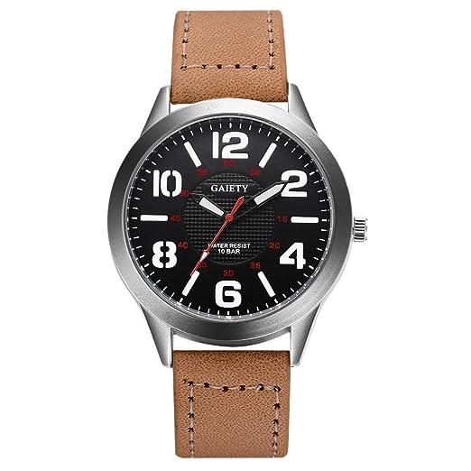0551c734cb85 Dylung Reloj de Pulsera para Hombre Reloj para Hombre Caballero Relojes de  Hombres de Moda Chico Analógico Cuarzo de Acero Inoxidable Correa de Cuero  del ...