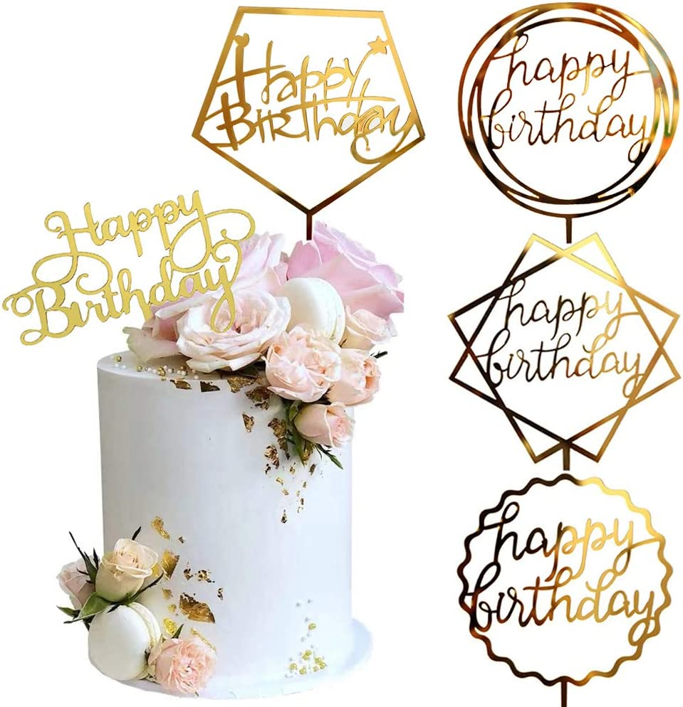 Gold Happy Birthday Cake Topper,Premium Quality Acrylic for Various Birthday Supplies Party Decorations