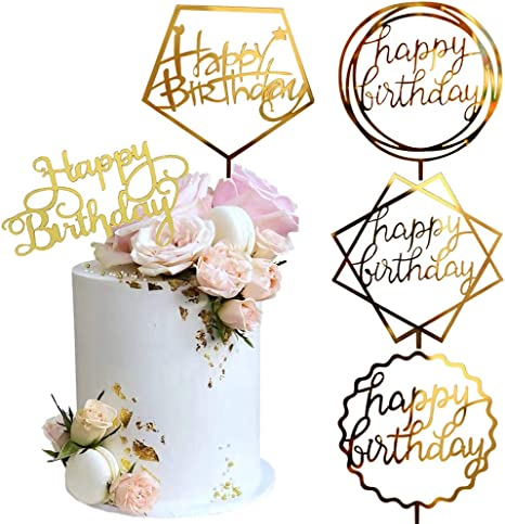 Acrylic HAPPY BIRTHDAY Cake Topper Card Cakes Insert Home Party Supplies W7X5