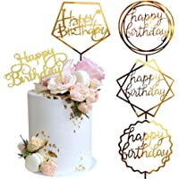 Gold Cake Topper Acrylic Cake Topper Happy Birthday Cake Topper Cake Decoration Supplies (5 Pieces)