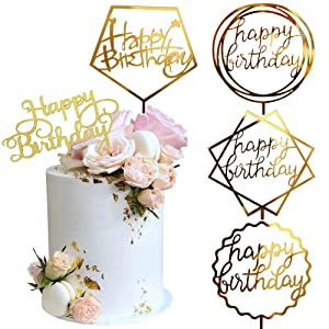 Gold Cake Topper, Acrylic Cake Topper Happy Birthday Cake Topper Cake Decoration Supplies (5 Pieces)