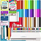 Silhouette White Cameo 3 Bluetooth Deluxe Beginner Starter Bundle with 36 12x12 Oracal Sheets, Siser Easyweed T-Shirt Vinyl, Membership, Transfer Paper, Guide, Class, 24 Sketch Pens, and More
