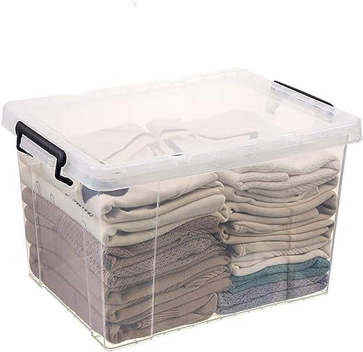 SOYYD Caja de Almacenaje con Tapa de, Cajas de Almacenamiento apilables - Plástico, Transparente Puede Almacenar Ropa, Colchas, Juguetes y Edredón ETC,70L: Amazon.es: Hogar