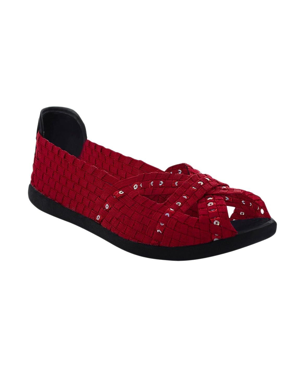 Heal USA Ellen Peep Toe Ballet Flats B076YHGZRP 7 B(M) US|Red Sequins