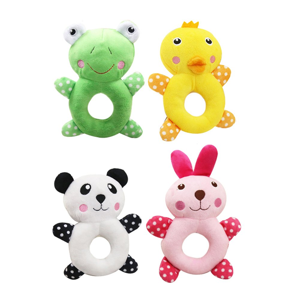 Petzilla Squeaky Sound Chew Animal Toys for Pet Dogs Cats, Panda Rabbit Frog Chick, Pack of 4 (Large)