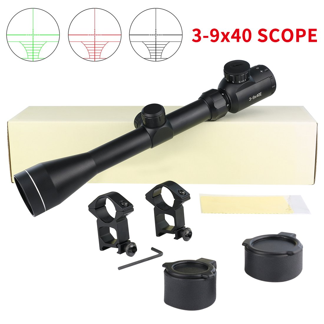 Twod 3-9x40mm Riflescope Red/Green Illuminated Handgun Scope with 1'' Tube + Scope Rings + Lens Cover by Twod