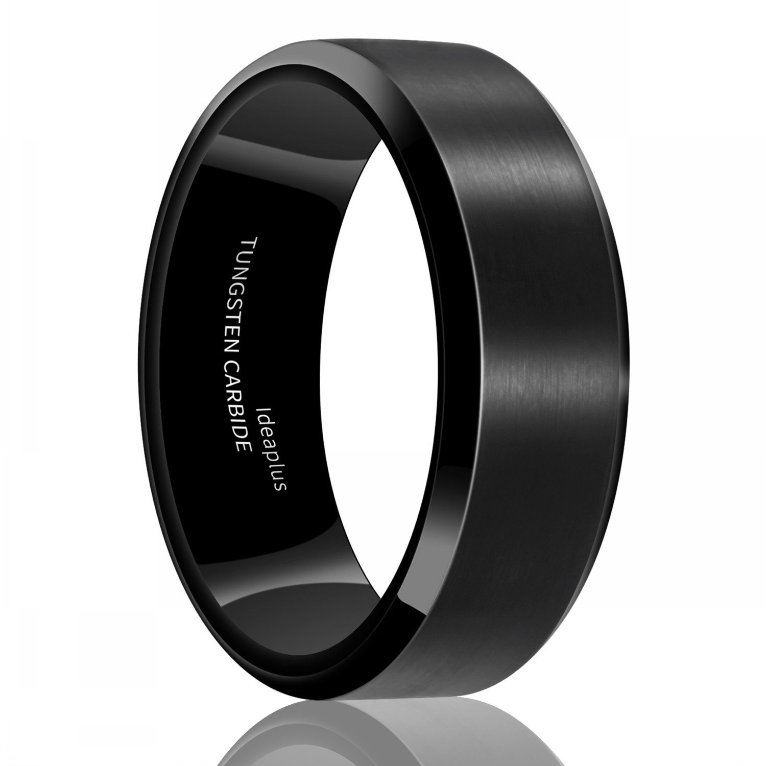 IDEAPLUS Tungsten Wedding Band Ring 8mm for Men Women Comfort Fit Black Beveled Edge Polished Brushed and Titanium Steel Necklaces
