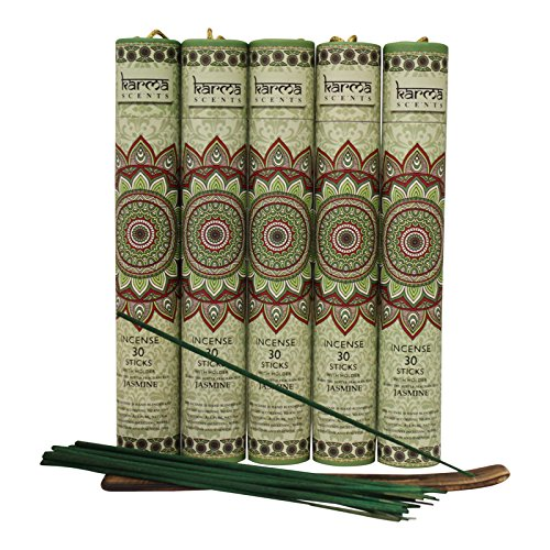 Premium Jasmine Incense Sticks 5 Set Gift Pack with a Holder In Each Box, Includes 150 Sticks and Five Incense - Stick Jasmine