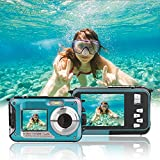 Waterproof Point and Shoot Digital Cameras,24MP 1080P Dual Screen Underwater Sports Action Video Recorder Cameras-Blue