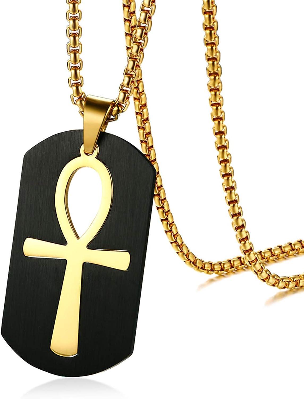Mens Chunky Egyptian Pharaoh Ankh Key Of Life Dog Tag Steel Protection Necklace