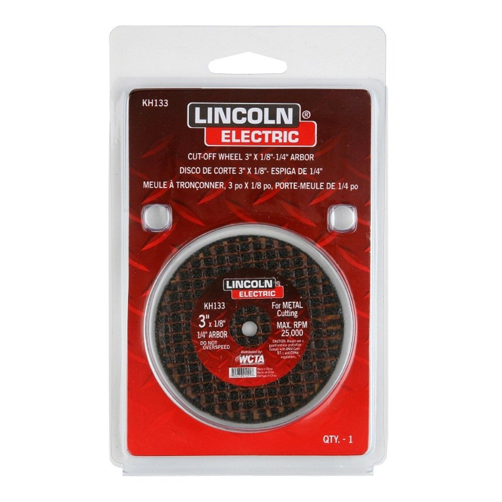 Red 1//4 Arbor Pack of 5 3 Diameter x 1//8 Thick 1//4 Arbor The Lincoln Electric Company 3 Diameter x 1//8 Thick Lincoln Electric KH133 Abrasive Cut-Off Wheel 25000 RPM