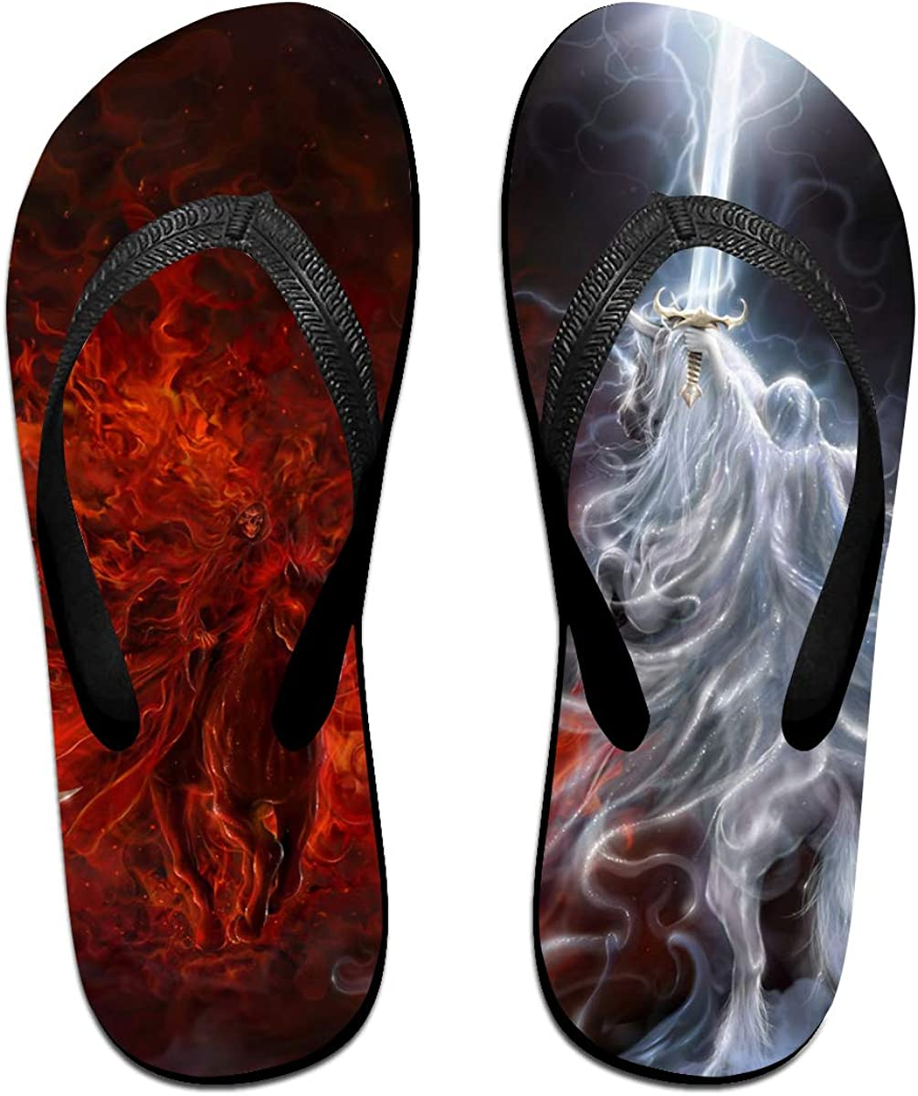 Couple Slipper Horse Fight Between Ice and Fire Print Flip Flops Unisex Chic Sandals Rubber Non-Slip Spa Thong Slippers