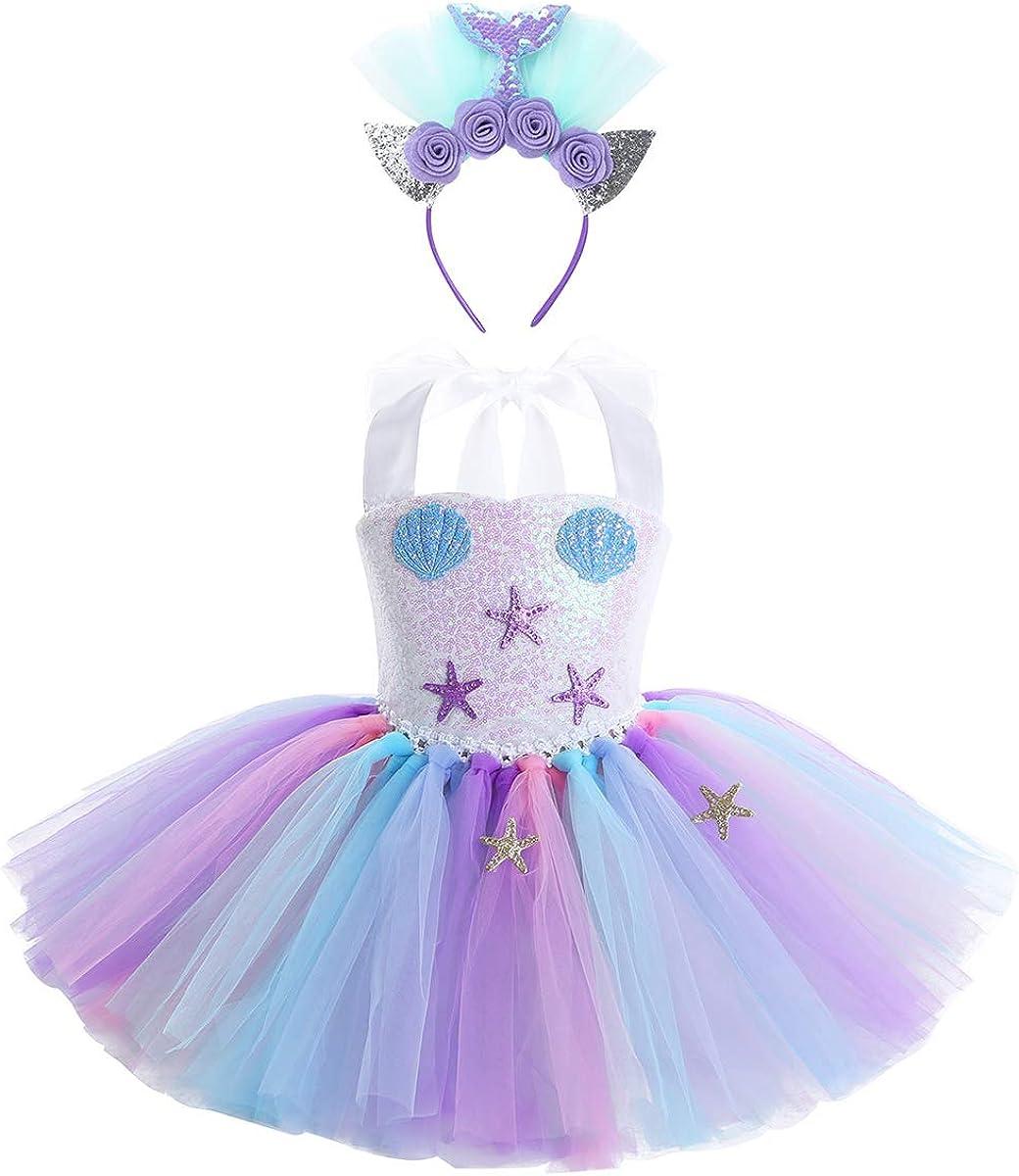Princess Girls Rainbow Fancy Dress Mermaid Tutu Outfit Cosplay Party Kid Costume