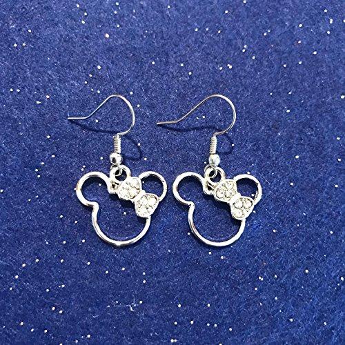 Earrings Dangle Disney (Disney Inspired Minnie Mouse Rhinestone Dangle Earrings)