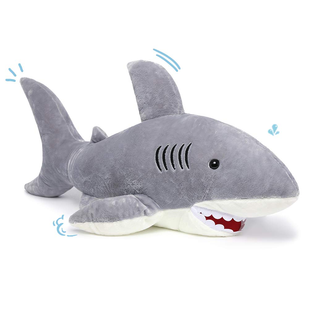 MorisMos Giant Shark Stuffed Animal,Gray Shark Plush Pillow,Plush Toy,Gift for Kids Girlfriend,51 Inches by MorisMos (Image #1)