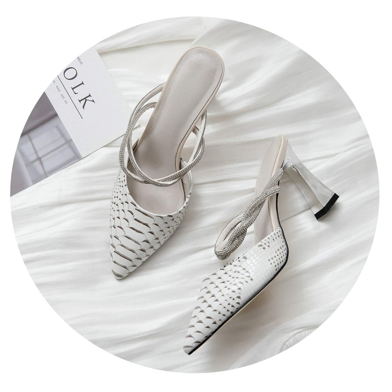 Elegant Shoes Slippers High Heel Shoes Summer Wedding Dress Black Beige Sandals Size 34-43