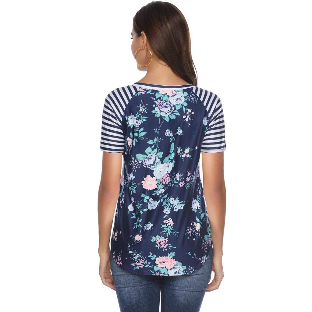 Aoesila Women Casual Floral Print Blouse Stripe Short Sleeve Shirt Round Neck Tops