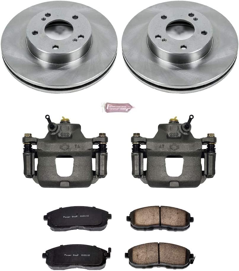 Ceramic Brake Pads OE Rotors Power Stop KCOE660 Autospeciality Replacement Front Caliper Kit Calipers