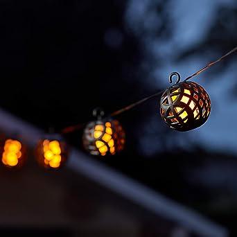 wasserdicht LED-Solar-Lichterkette für den Außenbereich Flamme zum Aufhän #Z