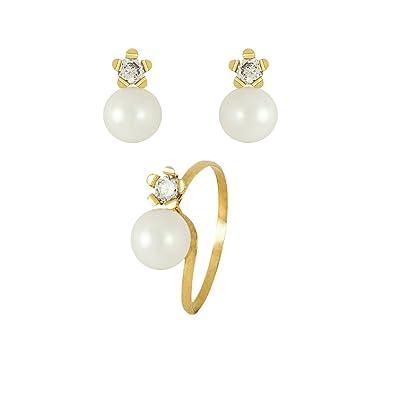 dd70efb0614d Conjunto Pendientes y Anillo de Oro 18K y perlas para Comunión niña   Amazon.es  Joyería