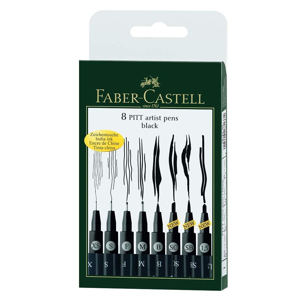 Faber-Castell FC167137 Wallet Pitt Pen Nibs Art Set, Assorted