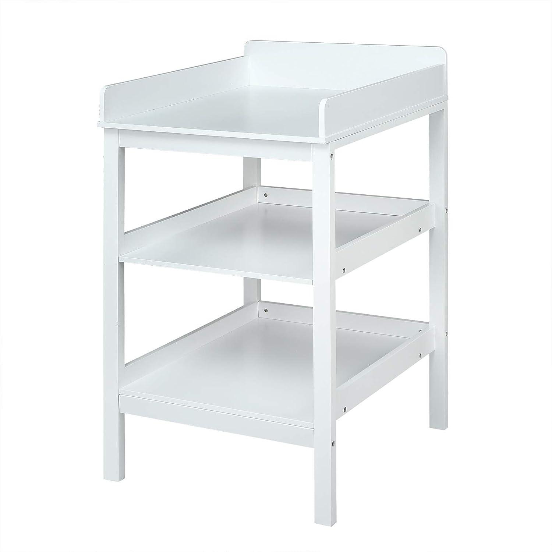 WOLTU WT001 Table /à Langer Meuble /à Langer pour b/éb/é en MDF avec 3 /étag/ère,Blanc
