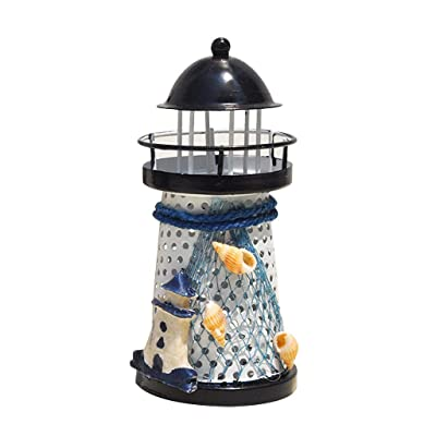 gugs Home Decor Anchor Lighthouse Night Light Lamp Home Décor Color Changing LED Lantern Openwork Nautical Gifts for Kids Living Room Kitchen Desk Table Mediterranean Style (C): Garden & Outdoor