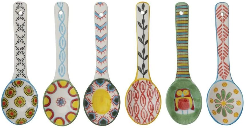 Multi Color Set of 6 Creative Co-op 5-1//4L Stoneware Spoon with Painted Pattern 6 Styles
