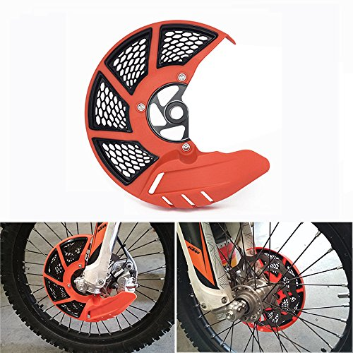 Front Brake Disc Guard Case Cover Protector - KTM SX125 SX150 XC250F SXF250 XC250 SX250 XC300 XC300F XC350F SXF350 XC450F SXF450 EXC250F EXC350F - Orange by JFG RACING