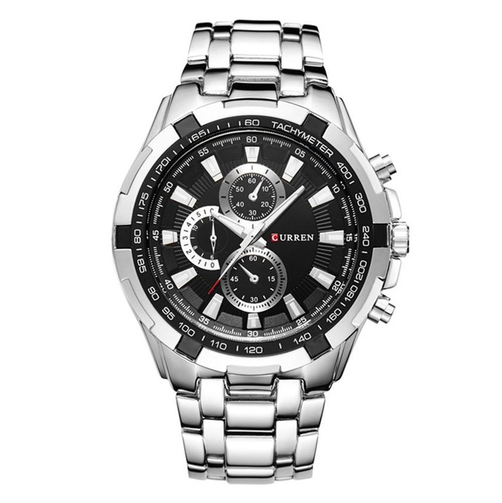 CURREN Original Good Quality Men's Sports Waterproof Stainless steel Quartz Wrist Watch 8023 (Silver silver black) by CURREN