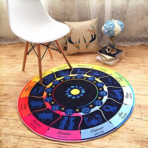 HOMEE European - style living room children 's room bedside chlorophytum computer chairs cartoon constellation round carpet,Diameter 90 Cm,A by HOMEE