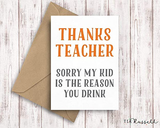 Thank You Teacher Card, Funny Teacher Card, Thanks Teacher