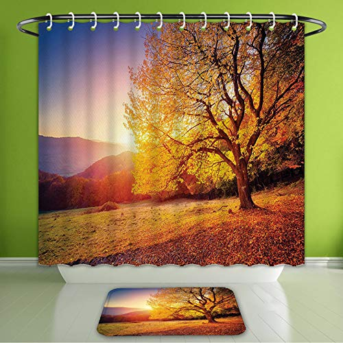 (Waterproof Shower Curtain and Bath Rug Set Scenery Decor Tree On Hill Slope with Sun Beams at Mountain Valley Dramatic Morning View Orange Bath Curtain and Doormat Suit for Bathroom 72