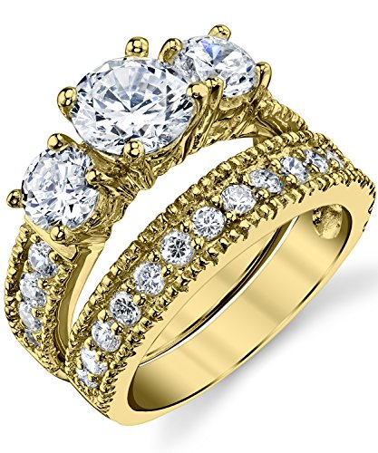 1.25 Ct Past Present - Gold Tone Over Sterling Silver Past Present Future 2-Pc Bridal Set Engagement Wedding Ring Band W/Cubic Zirconia CZ 8